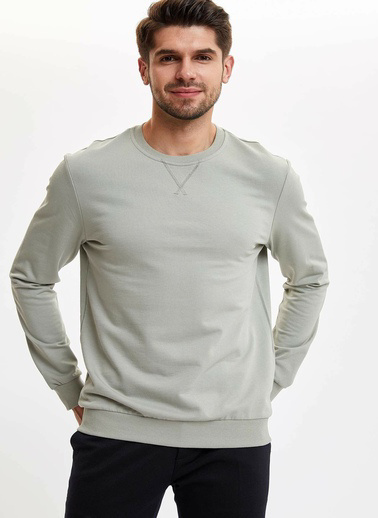 DeFacto Basic Regular Fit Sweatshirt Yeşil
